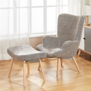 Artiss LANSAR Lounge Chair Armchair Tub Accent Fabric Sofa Ottoman Scandinavia