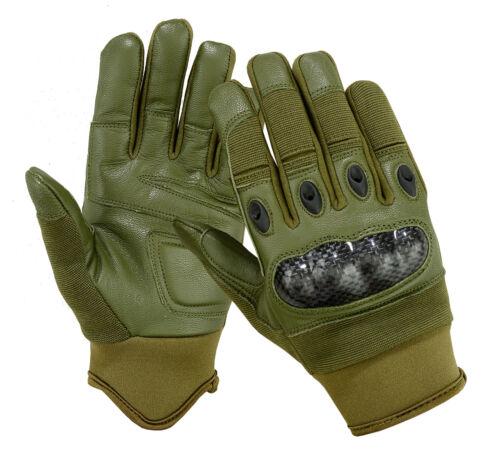 Olive Green Tactical Combat Patrol Carbon Fiber Hard Knuckle Shooting Gloves