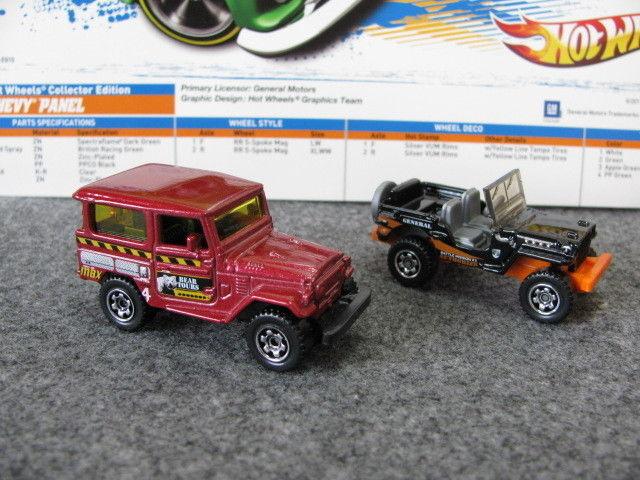 online barato 1 64 Matchbox Jugueteota Land Cruiser FJ40 + Chrysler Jeep Jeep Jeep Willys Diecast (2 un.)  ventas directas de fábrica