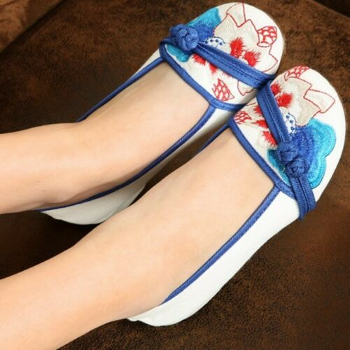 Femme chinoise traditionnelle Folk Bout Rond Broderie Florale Flats tissu Chaussures
