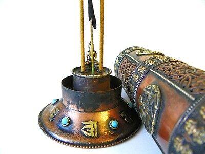 F695 Artistic Tibetan Cylinder Copper Incense Burner Hand Crafted In Nepal