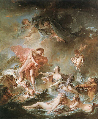 Oil painting francois boucher - The Setting of the Sun Nude Female & angels art