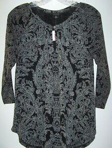 Lucky Brand Boho Black/Gray Paisley Top Women S Keyhole Neckline 3/4 Sleeves NEW