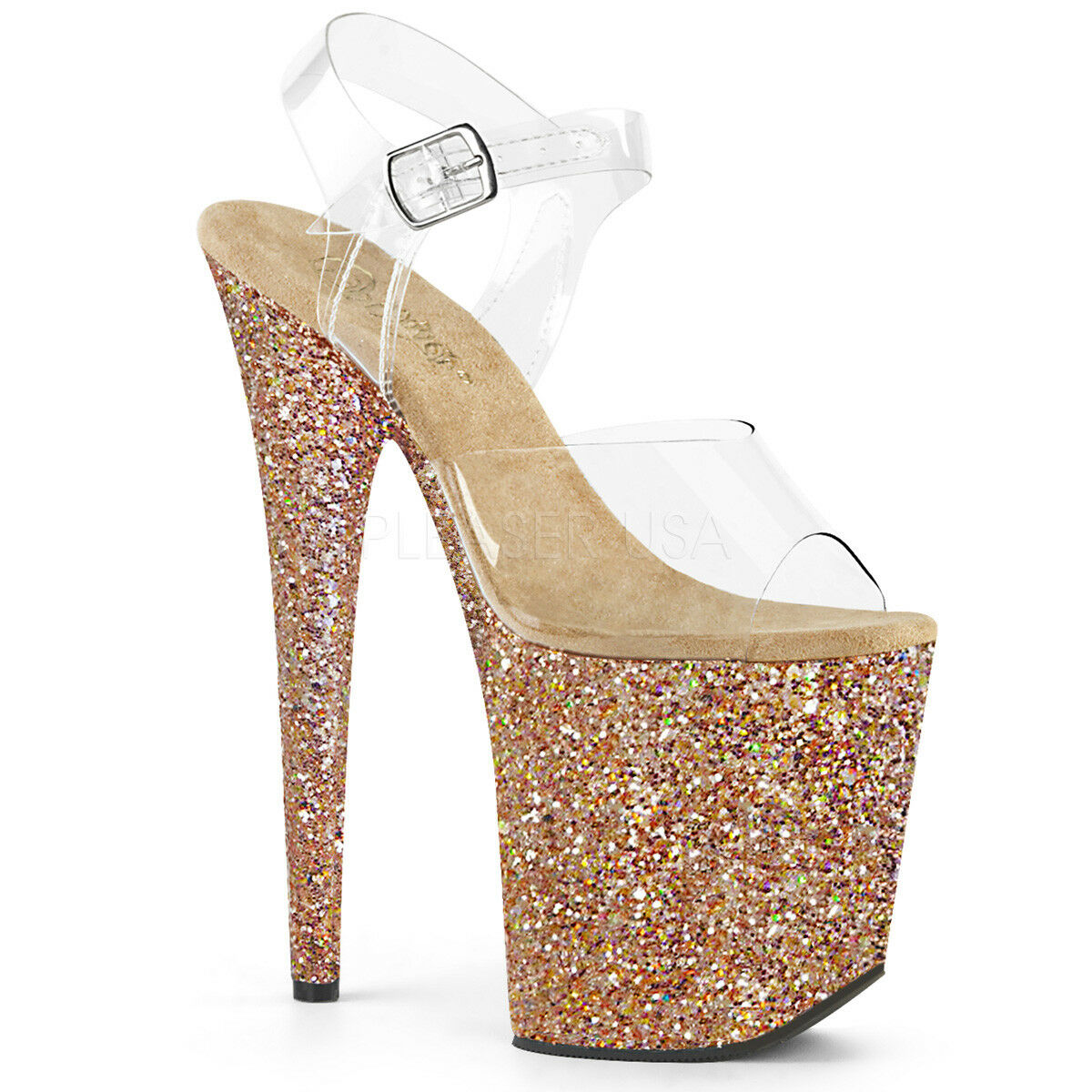 PLEASER FLAMINGO-808LG Sexy  8  High Heel Roes Roes Roes gold Glitter Platform Women shoes 7ea6ef