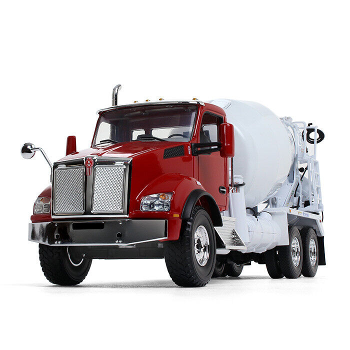 1 34 First Gear rojo & blanco KENWORTH T880 w McNeilus Bridgemaster Cement Mixer