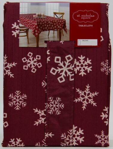 St Nicholas Square Christmas Yuletide Snowflake 60x120 Oblong Tablecloth NWT