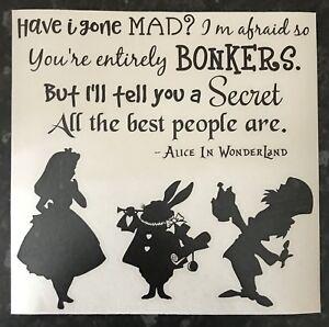 Alice In Wonderland Decal Vinyl Sticker Ikea Ribba Box Frame Mad