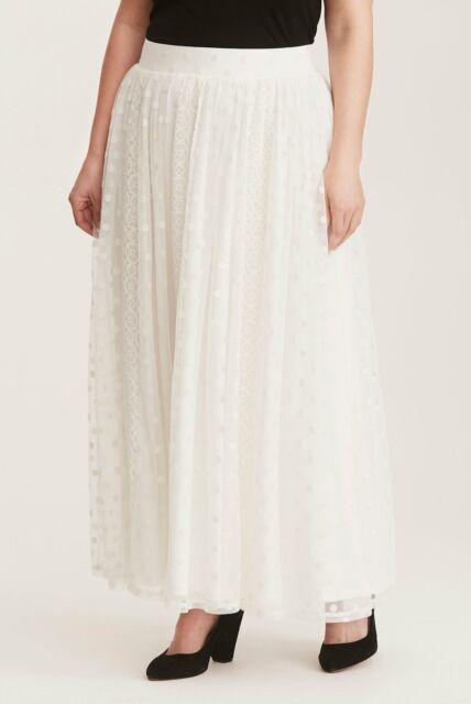 4e380b45d7 Torrid Womens Maxi Skirt Ivory Lace/Polka Dot Mesh Plus Size 1/1X ...