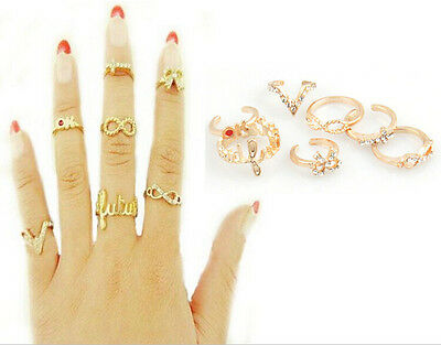 Hot Sold 7Pcs Mix Top Cute Knuckle Gold Cut Above Ring Band Midi Ring Ring set