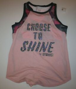 New-Justice-Girls-Athletic-Sports-Bra-Attached-Tank-Top-18-year-Choose-To-Shine