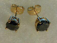 Classic round black onyx 7mm, 18k yellow gold gf stud earrings BOXED Plum UK