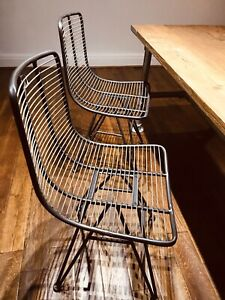 Set Of 2 Industrial Retro Metal Wire Style Dining Chairs Office Chairs Ebay