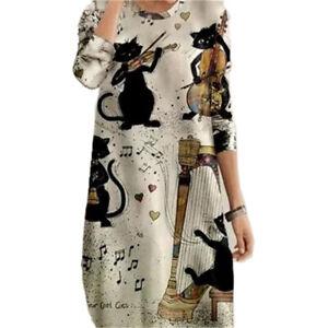 Womens Long Sleeve Loose T-Shirt Dress Summer Casual Baggy Tunic Midi Dresses