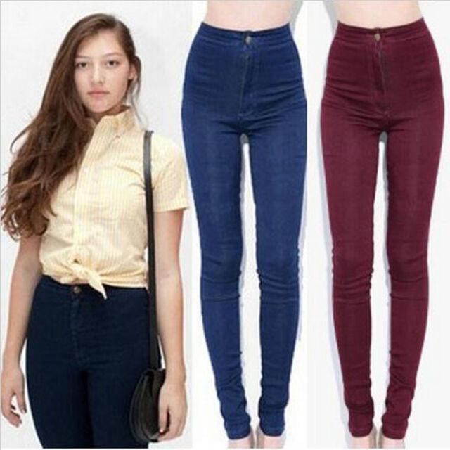 New fashion Apparel Women Vintage Style High Waist Jeans Pencil Pants Plus