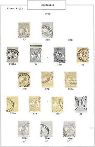 Australia stamps 1915 collection of 16 stamps CANC VF HIGH VALUE!