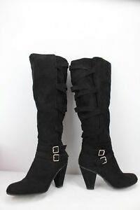 a26c854f0 Image is loading Justfab-Black-Norella-Heeled-Boots-Women-s-Size-