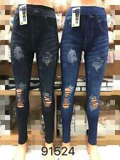 Wholesale Joblot Ladies Women Damaged Look Pants Jeggings 12 Pcs Mix Colours