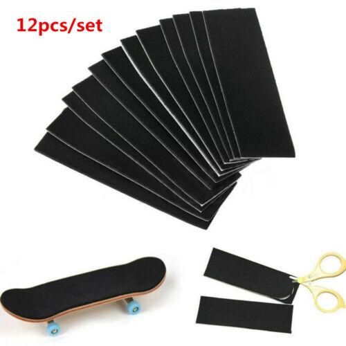 Details about  /12Pcs Wooden Fingerboard Deck Uncut Black Grip Tape Stickers 110mm x 35mm