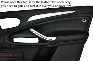 BLACK STITCH 2X FRONT DOOR CARD SKIN COVERS FITS FORD GALAXY MK3 S-MAX 06-15