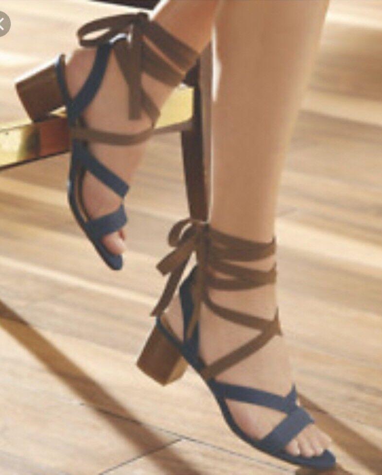 Midnight Velvet Contrast Size Denim Brown Wraparound Sandal NEW NIB Size Contrast 9 m 67c153