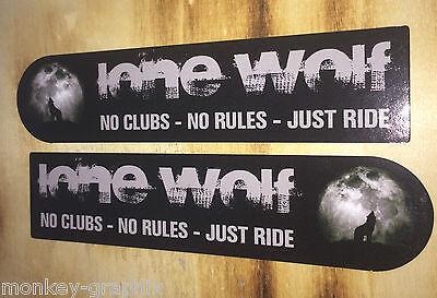 2er Biker Lone Wolf Sticker / Oldschool Aufkleber Chopper Bobber Cafe Racer USA