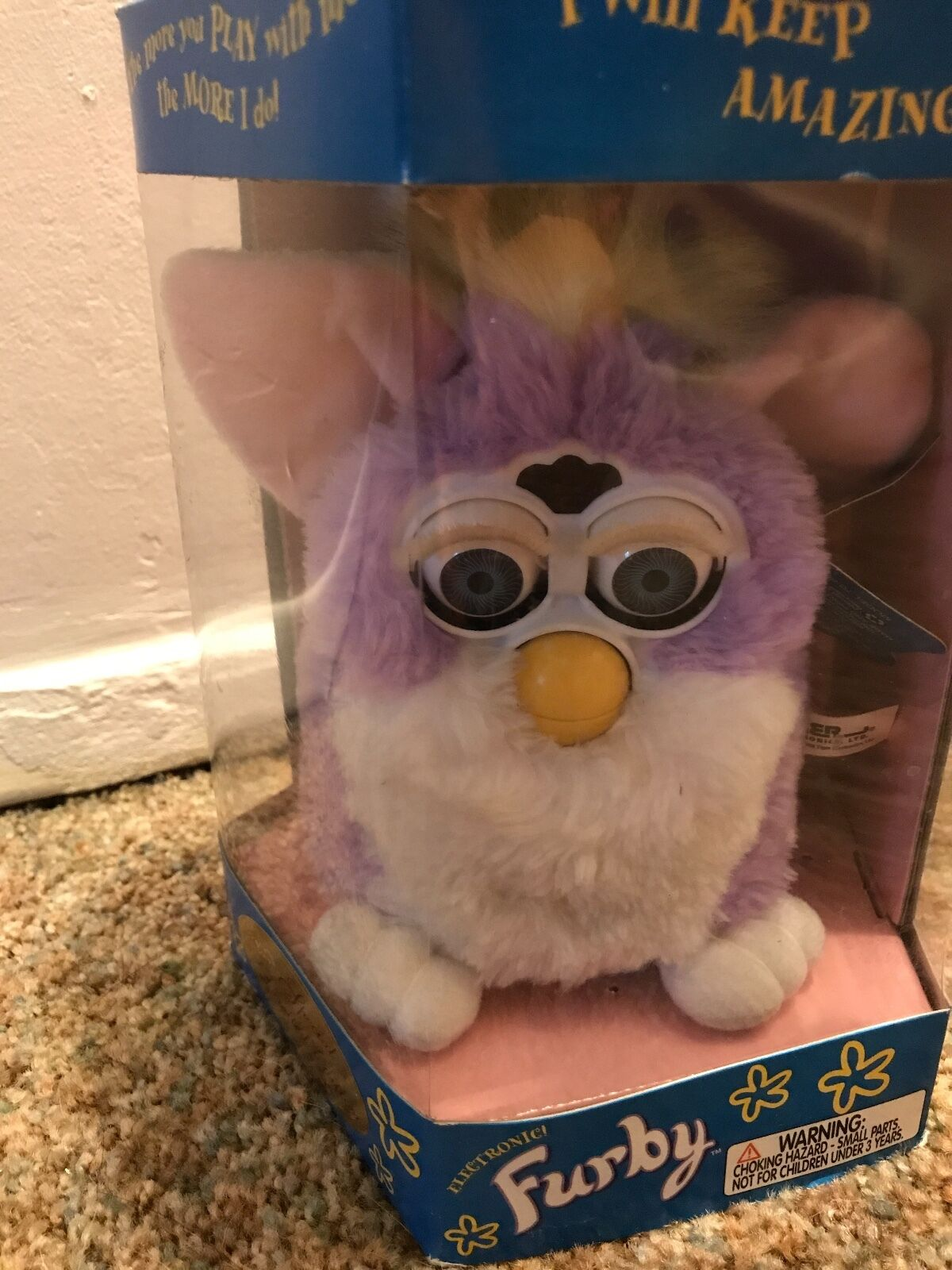 1998 furby purple white green green green limited edition original box opened but never used f8df6a