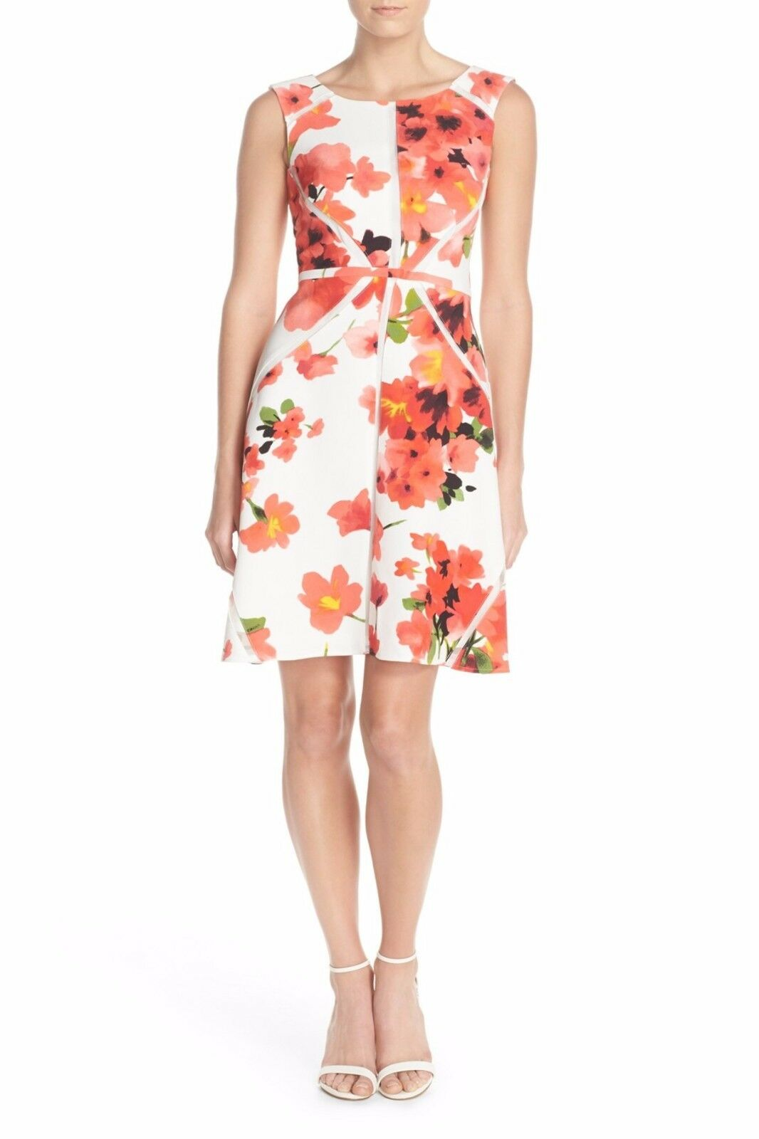 Adrianna Papell Floral Print with Mesh Inset Fit & Flare Dress (size 10)