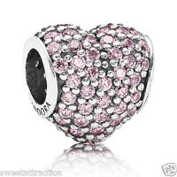 Pandora Charm 791052pcz Sterling Silver Pink Pave Heart Bead Box Included