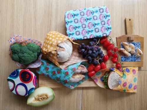 30cm x 30cm Large Natural Reusable Beeswax Food Wrap-Set of 3