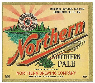 VINTAGE BOTTLE LABEL BEER NORTHERN ALE SUPERIOR WISCONSIN 1950S ORIGINAL UNUSED