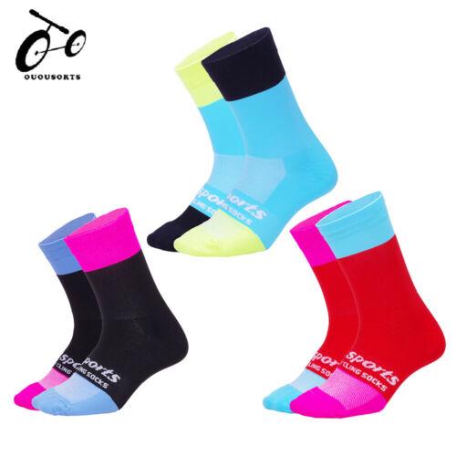 Mens Womens Cycling Socks Breathable Bike MTB Mountain Racing Riding Calf Socks