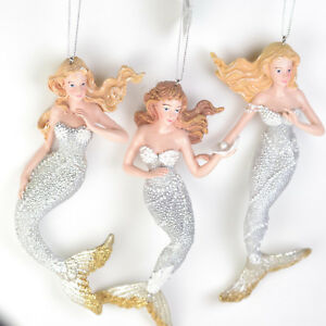 SET-of-3-Silver-Gold-Mermaid-6-5-Inch-Kurt-Adler-Resin-Christmas-Ornament-D05