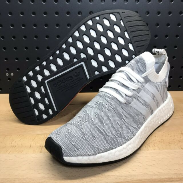 new arrivals ada1a fc3e2 Adidas NMD R2 PK Primeknit Casual Shoes White / Grey BY9410 Men's Size 9.5