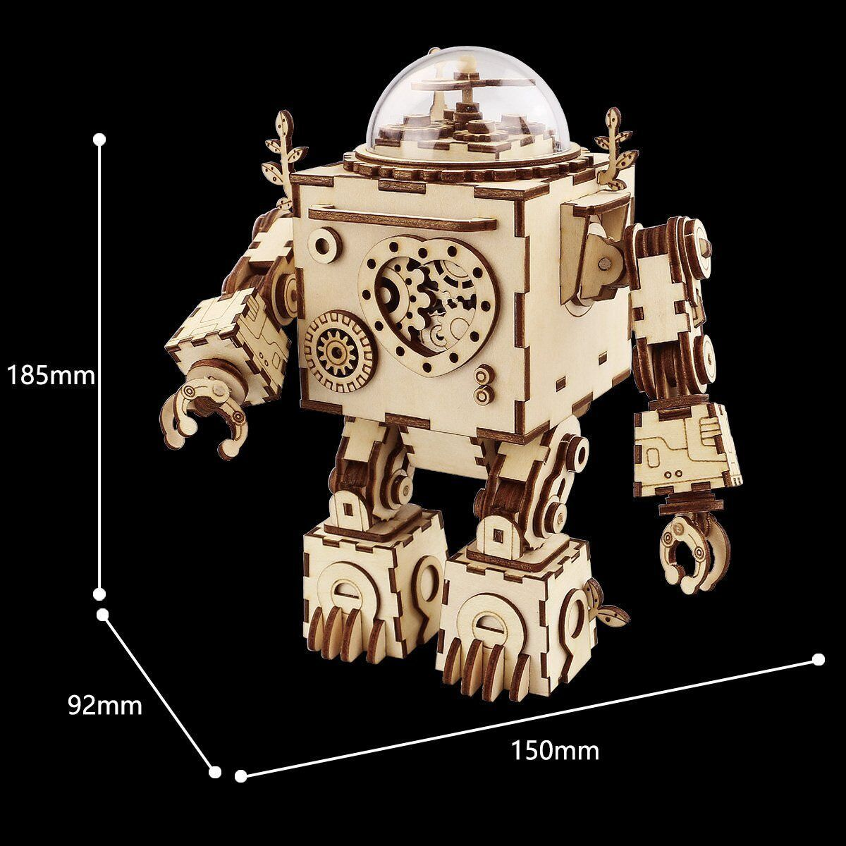 Robotime 3D DIY Model Build Set Laser Cut Wooden Music Box Puzzle Gift LED Light