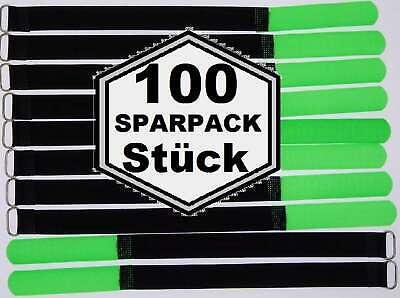 100x Kabelklettband 30 cm x 20 mm neon rot Klettband Klett Kabel Binder Band Öse