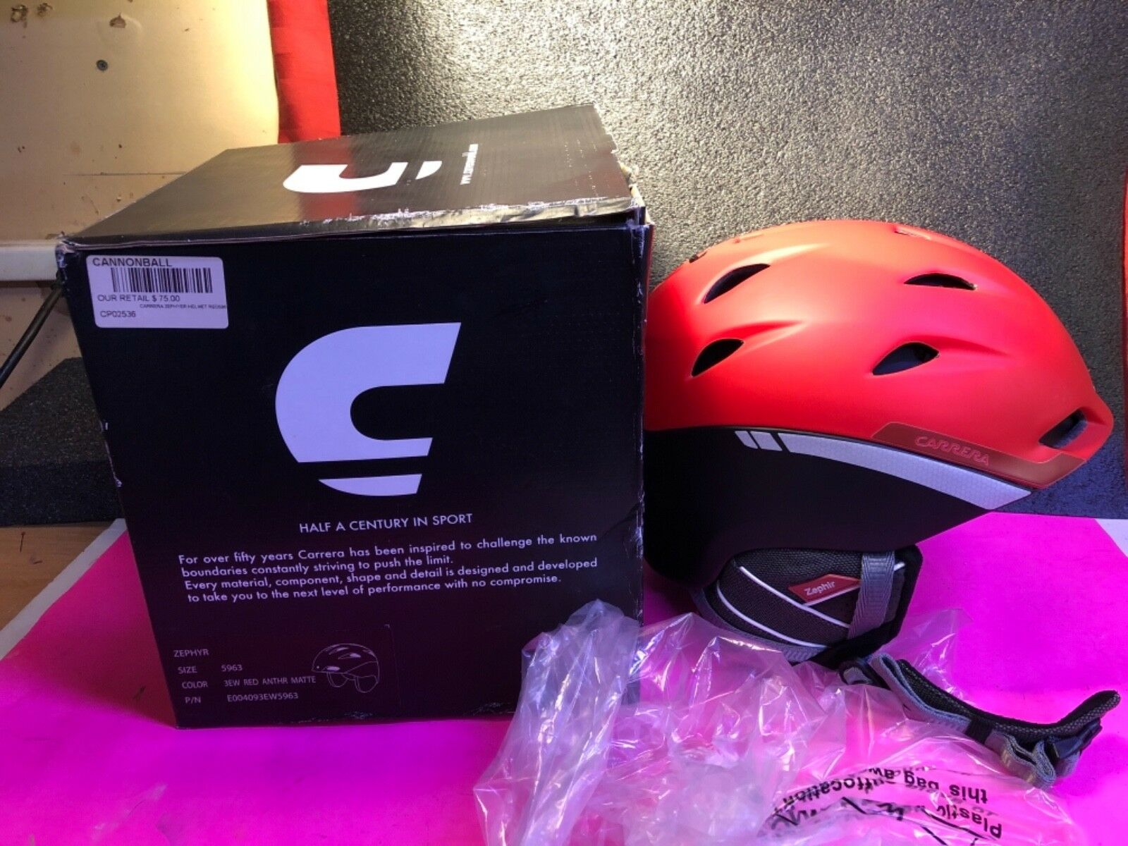 Brand New In Box Carrera Ski Snowboard Helmet Size 59-63 Red Anthr Zephyr size L