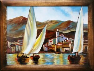 Painting-Port-Ships-Handmade-Ship-Oil-Painting-Picture-Oil-Frame-Pictures-02270
