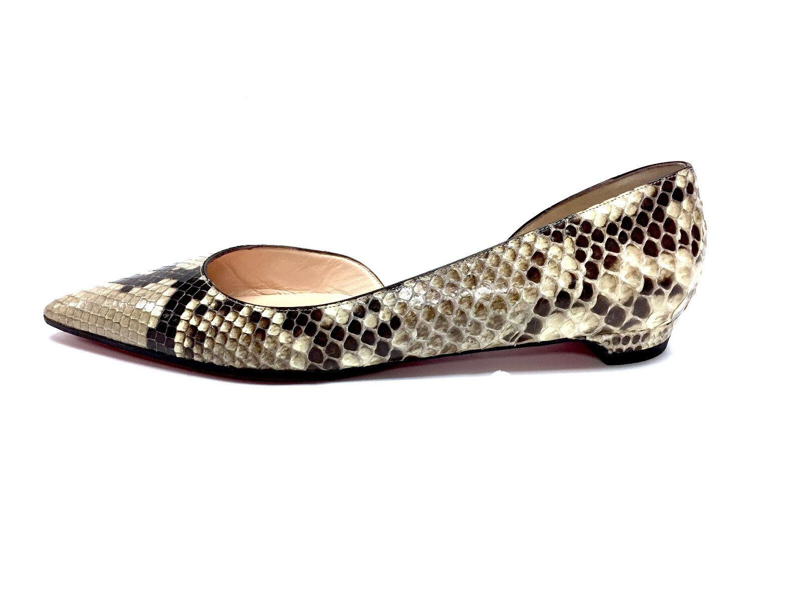 CHRISTIAN LOUBOUTIN LOUBOUTIN LOUBOUTIN Brown Beige Python Skin Flats Sz40 2f89e3
