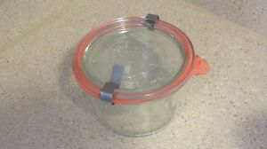 VINTAGE-WECK-RUNDRAND-GLAS-100-CLEAR-GLASS-BOWL-amp-LID-with-Seal-amp-Clips