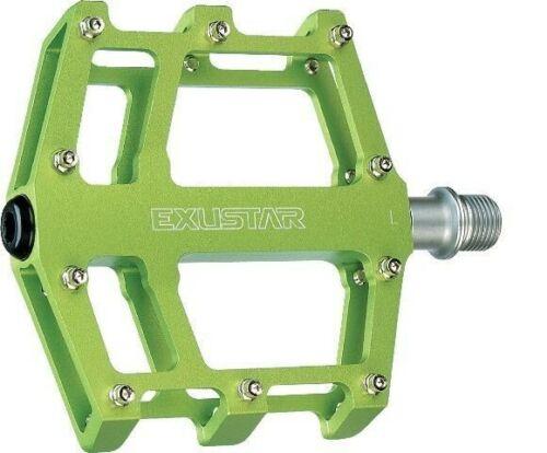 Plattformpedale Exustar E-PB525 grün Industrielager gedichtet Gewicht ~385 Gramm