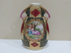 Antique-Royal-Vienna-Hand-Painted-Porcelain-Vase-Signed-Artist-Haufmann