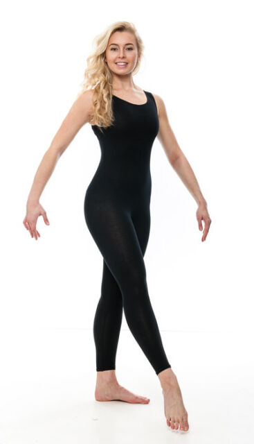 Girls Ladies Black Cotton Sleeveless Footless Catsuit Unitard All Sizes KDC056