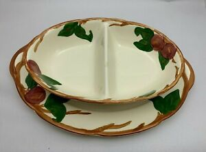 """Vintage Franciscan Ware Apple 14"""" Serving Platter & Divided Vegetable Dish Bowl"""
