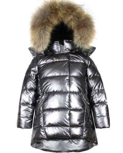 Deux par Deux Girls/' Puffer Coat with Real Fur in Dark Gray Sizes 4-16