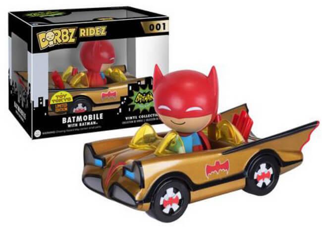 Funko Dorbz SDCC 2016 Summer Convention Ridez 001 gold Batmobile with Batman