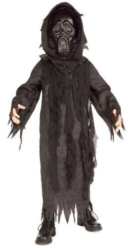 Midnight Ghost Black Ghoul Scary Hooded Robe Dress Up Halloween Child Costume