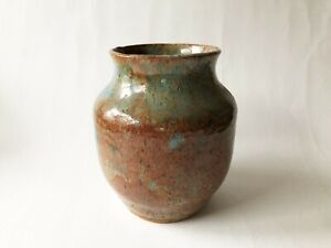 Vintage-Mid-Century-Modern-Studio-Pottery-Glazed-Ceramic-Stoneware-Vase