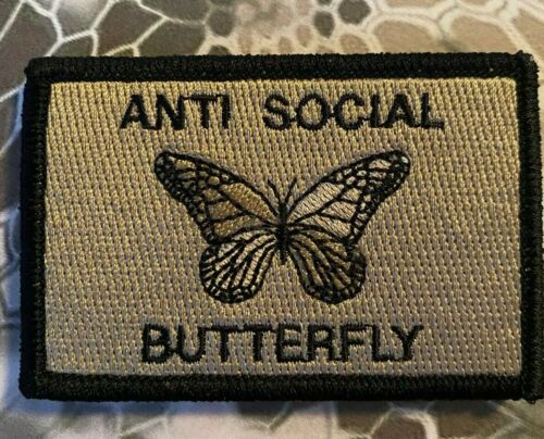 """VELCRO® BRAND HOOK Fastener Anti-Social Butterfly Patches 3x2/"""""""