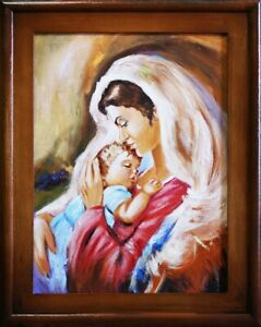 Religion-Mary-and-Jesus-Handmade-Oil-Painting-Picture-Oil-Frame-Pictures-G16039