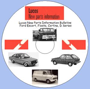 serie D Fiesta Cortina LUCAS nuove parti BOLLETTINO D/'INFORMAZIONE Ford Escort